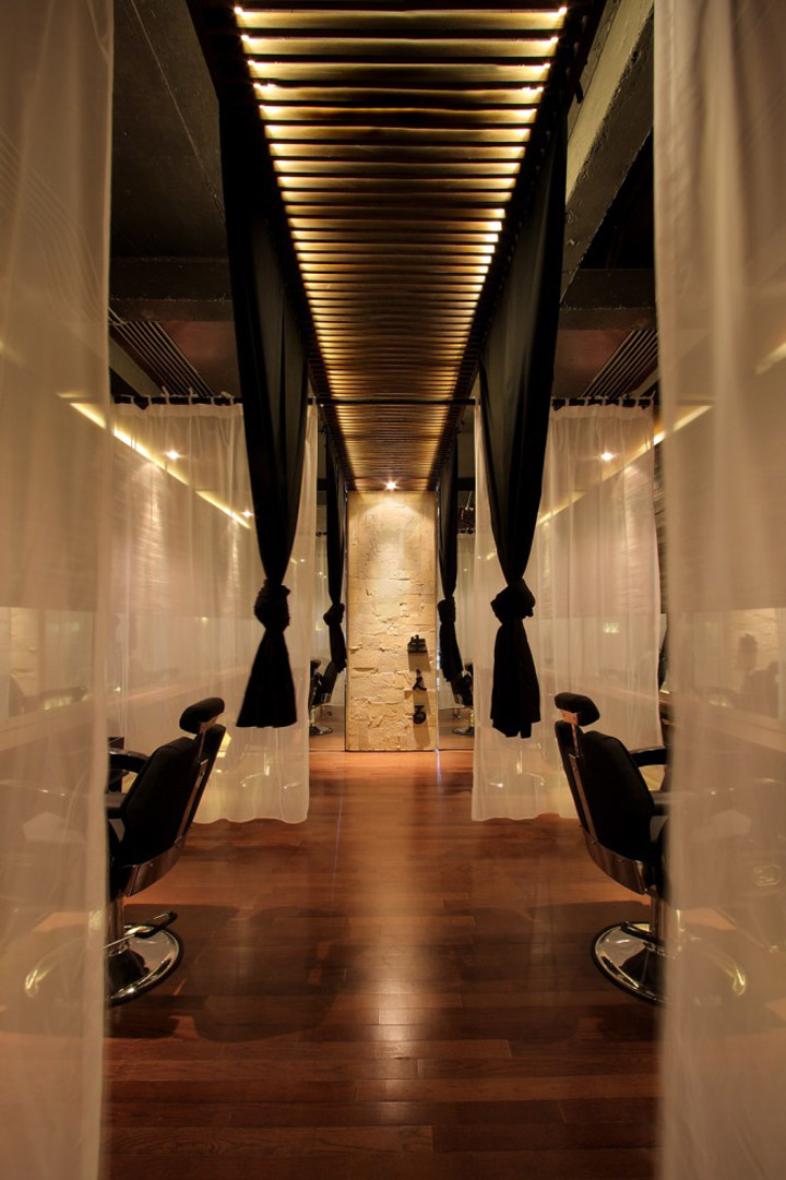 Japanese hair salon hairu by chrystalline architect - Interior hair salon lighting ideas ...