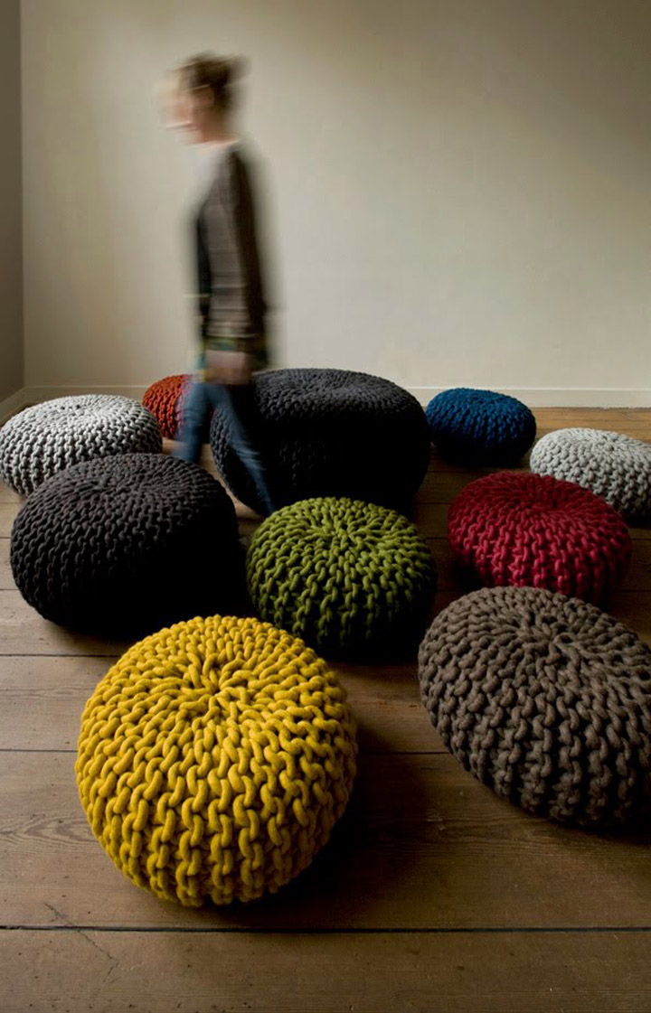 handknitted wool poufs and rugs by christien meindertsma. Black Bedroom Furniture Sets. Home Design Ideas