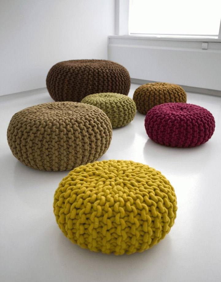 Bon Handknitted Wool Poufs And Rugs By Christien Meindertsma
