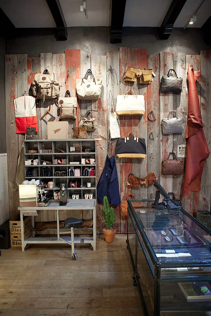 Red wing shoes store amsterdam retail design blog Interior design shops amsterdam