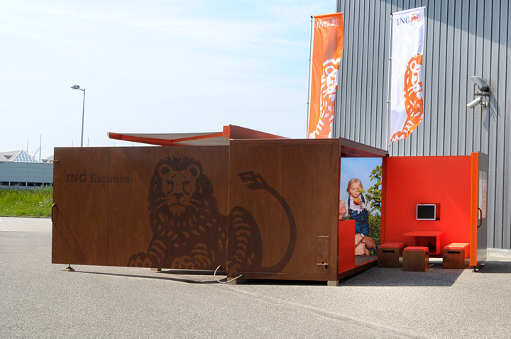 Storeage creates mobile coffee bar and office for ING 02 Storeage creates mobile coffee bar and office for ING