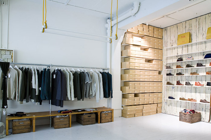 Folk clothing store by iy a studio london retail design blog Interior design stores london