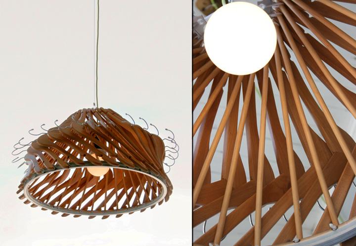 Hangelier 21 lighting Organelle Design 02 Hangelier 2.1 lighting from wooden hangers by Organelle Design