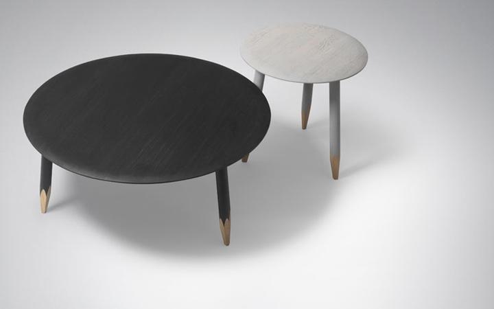 bàn cà phê sơn bóng mài nhọn chân