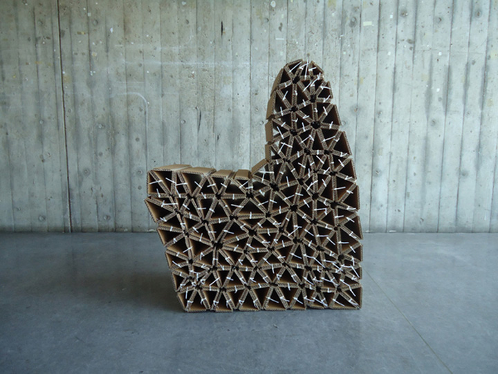 187 Caterpillar Chair Reused Cardboard Modular Chair By