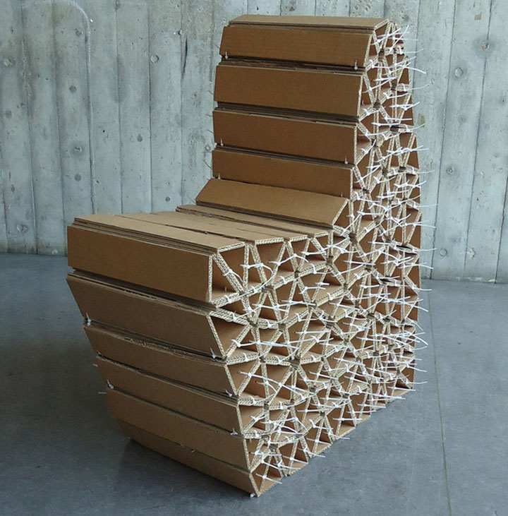 Caterpillar Chair – reused cardboard modular chair by