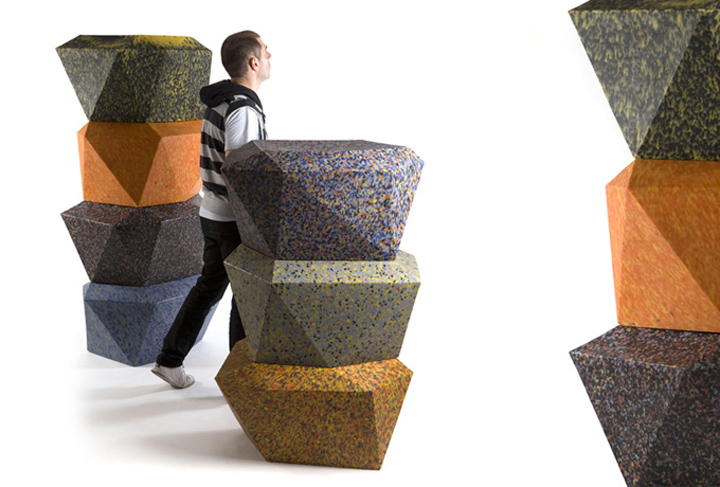 100% Recycled plastic furniture by Rodrigo Alonso for