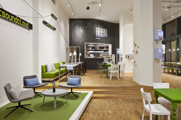 The base camp combines mobile phone shop café co working space