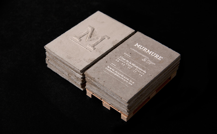concrete business cards by murmure retail design blog