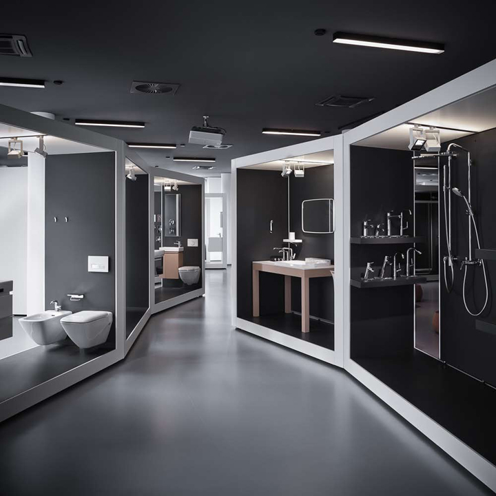 Aquamart sanitary showroom by fl architects budapest for Bathroom showrooms los angeles