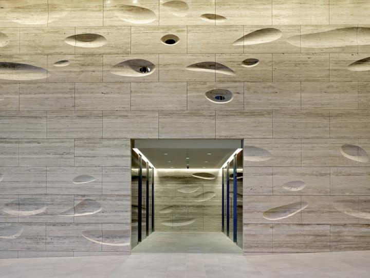 187 Sculpted Travertine Wall By Kohn Pedersen Fox