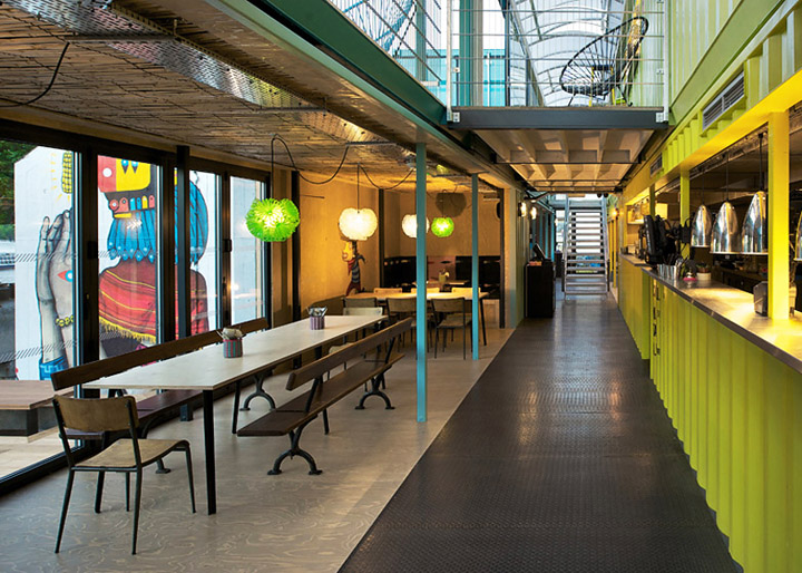 Wahaca container restaurant Softroom London 02 Wahaca shipping container restaurant by Softroom, London