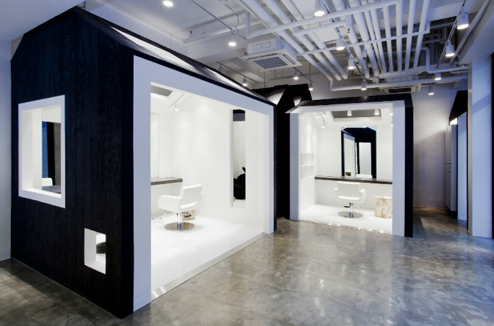 A Hair Salon In Seoul Is Designed As Series Of Small Villages Congregated 124 Sq M E Divided By Alleyways The Miega Features