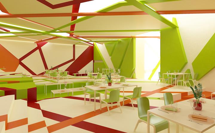 The garden of colors restaurant by gamelli design retail design blog for Restaurant interior color schemes