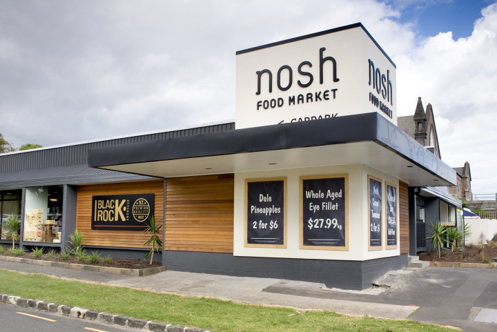 Nosh supermarket by studio gascoigne auckland mount eden for Retail shop exterior design