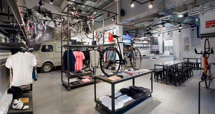home mechanic garage ideas - Rapha Cycle Club by Brinkworth London Retail Design Blog