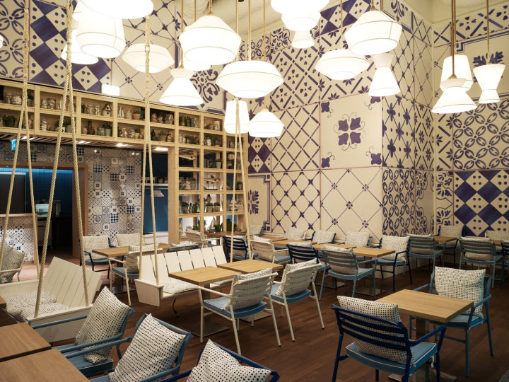 Azzurro restaurant by andrin schweizer company zurich for Interior decoration zurich