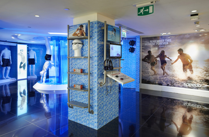 Sportswear stores speedo store at harrods by officetwelve london for Swimming pool stores in my area