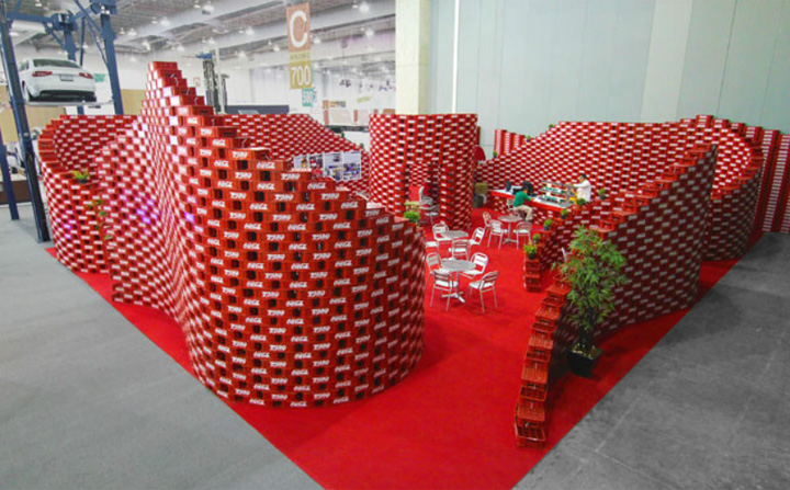 Interior decoration with waste material - Coca Cola Upcycling Pavilon At Expo Cihac By Bnkr