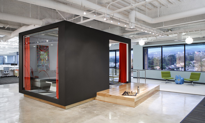 Dreamhost office by studio o a brea california retail for Exposed ceiling design
