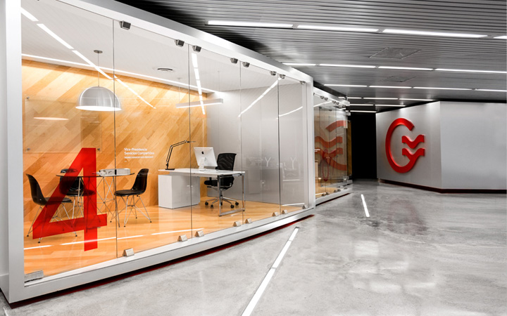 grauforz office interior and branding by anagrama retail