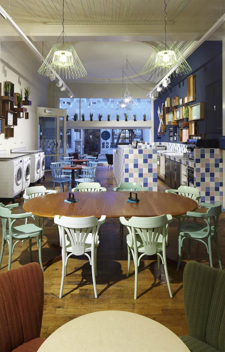 Wasbar laundromat bar hair salon by pinkeye ghent belgium - Bar salon design ...