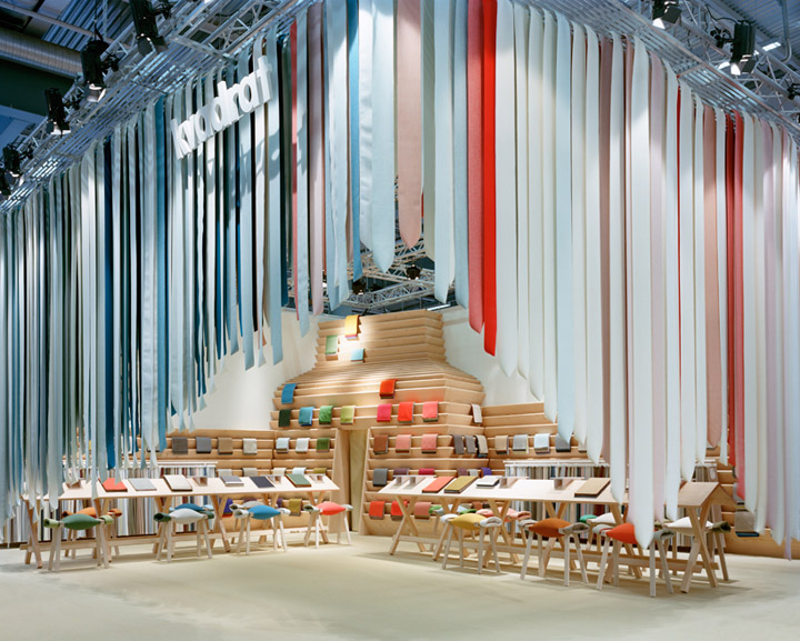 Fabric Exhibition Stand Years : Kvadrat stand by raw edges design studio stockholm