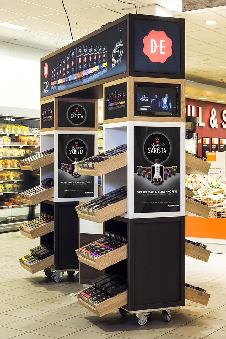 Douwe egberts stand by studiomfd amsterdam retail for Coffee shop display ideas