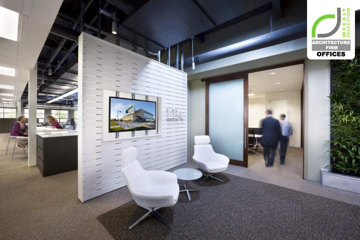 Architecture firm offices lpa s sustainable office for Office space design companies