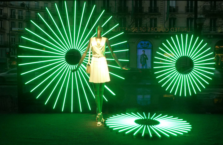 u00bb printemps color  u0026 geometric light window display  paris