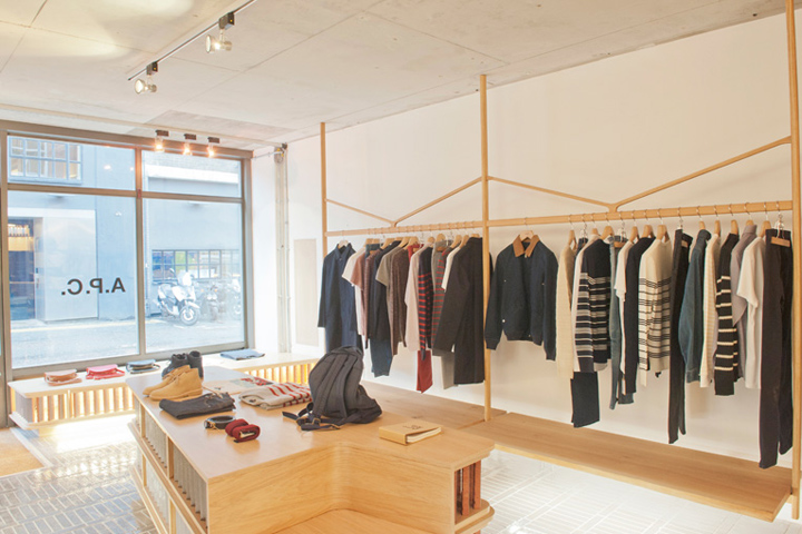 Wooden store interiors a p c store london retail design blog Interior design stores london
