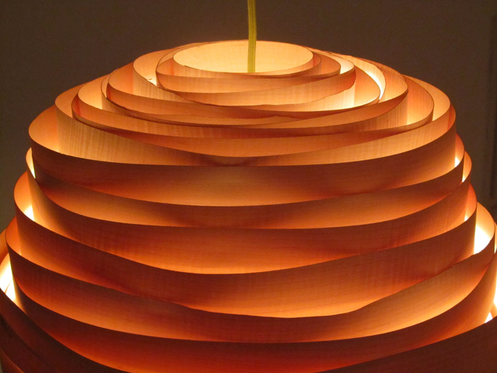 ... create hand made lampshades from paper and veneer inspired by nature