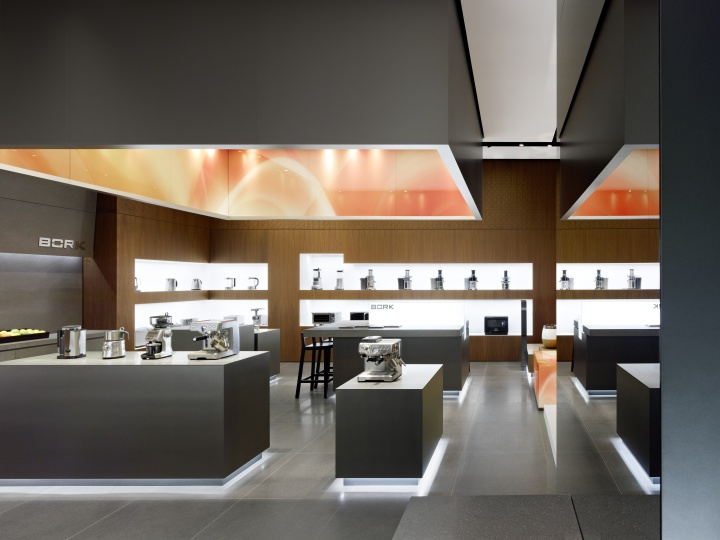 The Interior Of Flagship Store Is Remarkable For Its Use Natural Materials All Fittings And Units Are Strictly Geometrical
