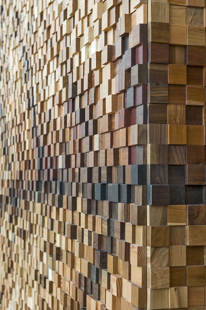 Lululemon yorkdale store by quadrangle architects Wood wall design
