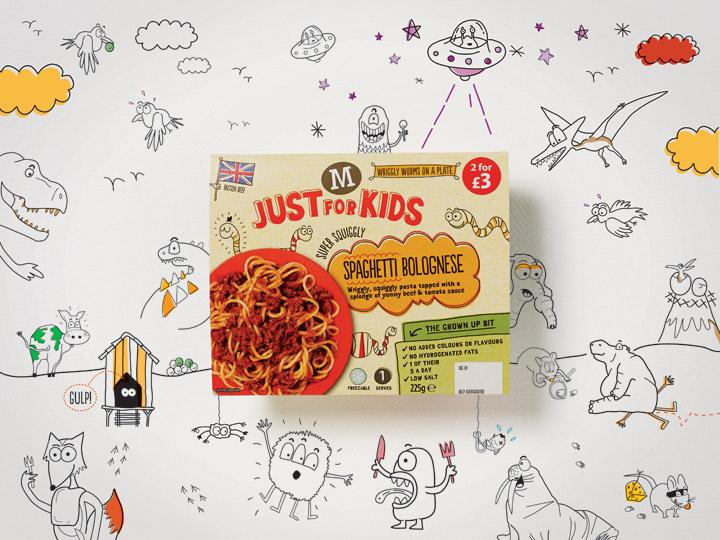 Just for Kids food range branding by Elmwood
