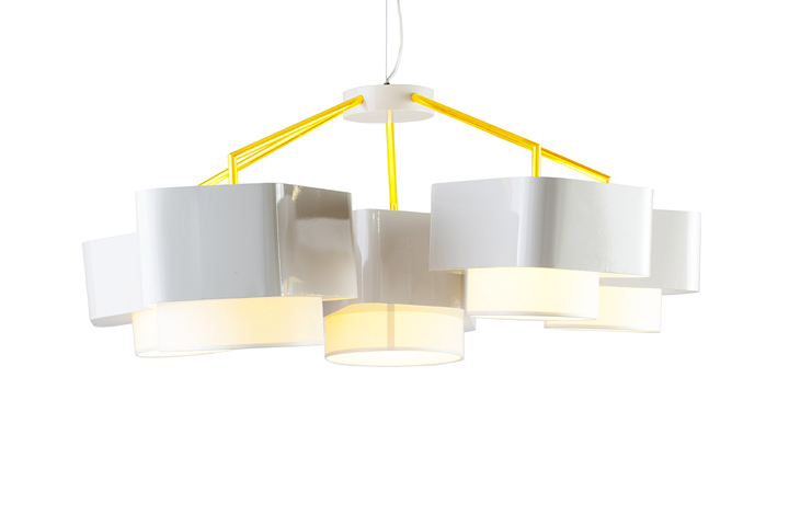 ... Lampshade Lamp Supported By An Harmonious Iron Structure. Been  Presented In 2 Color Combinations: White+yellow And Cooper+black, With The  Signature Of ...