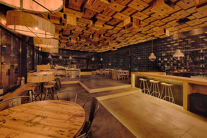 El Fabuloso Is One Of The Most Exclusive Bars In Bogota. It Is All Made Of  Wood Structured In A Rare Form That Is Intented As An Entirely Acoustic  Element.