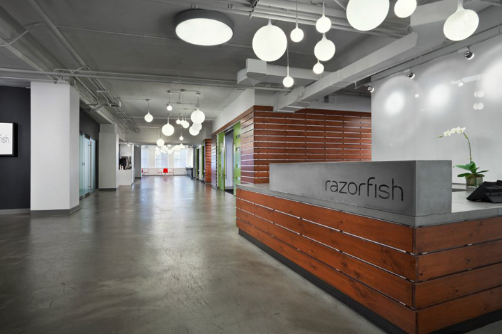 Razorfish office by nelson chicago illinois retail for Office reception lighting design