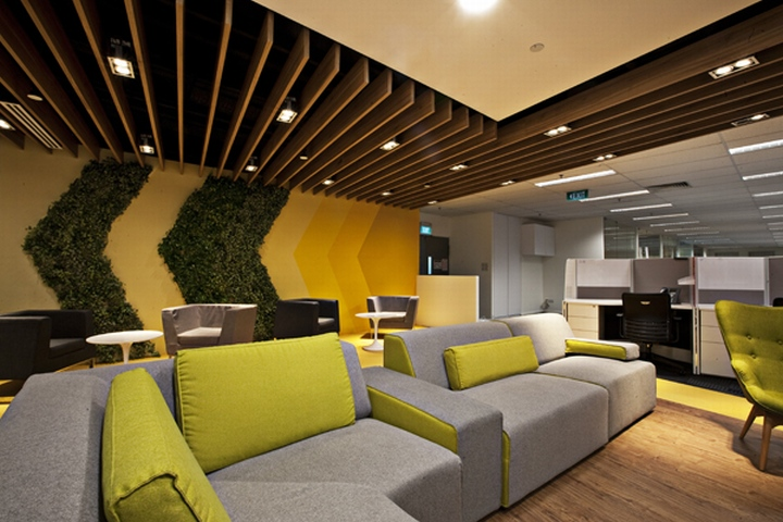 Breakout areas singtel call centre by sca design - Certification in interior design ...