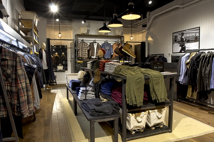 Canvas crates and woven grass matting give the store additional textures  that soften the lines of