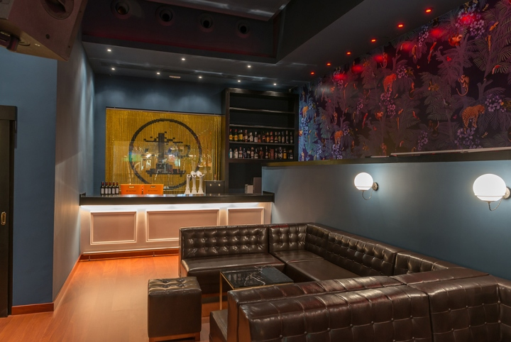 Nice Every Single Furniture Is Exclusively Designed For The Bar In A Midcentury  Timeless Style. Wood, Leather, Brass And Custom Made Tropical Wallpaper  Defines ...