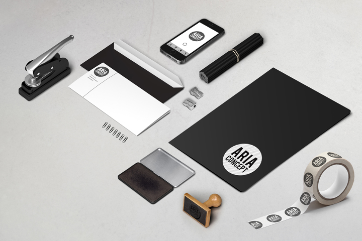 romanian graphic design studio laboratorio creativo has created this strong and recognizable brand identity for aria concept an architecture office based brand architecture office