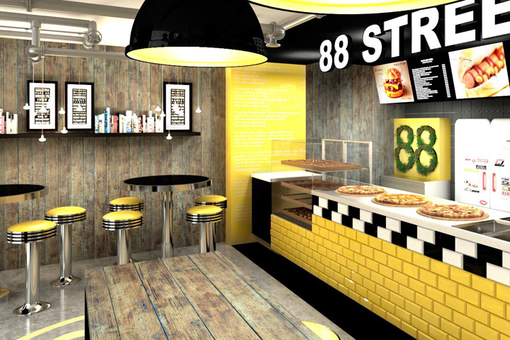 Interior Design Fast Food 88Th Street Fast Food Barforbis Group Cracow  Poland .