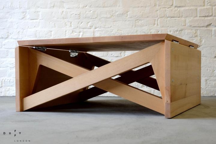 Mk1 transforming coffee table wood mini by duffy london for Wohnzimmertisch zum esstisch