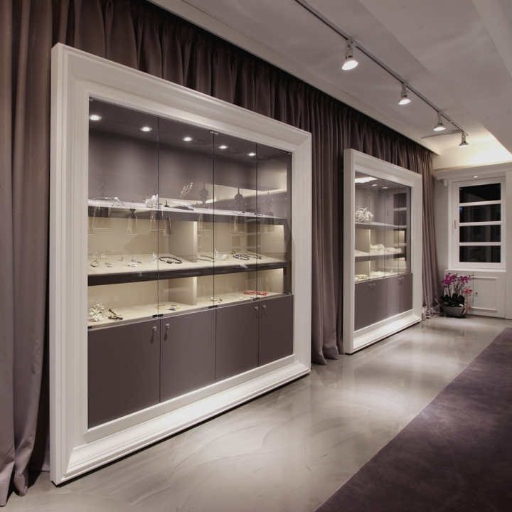 Mond jewelry boutique by hjl studio seoul korea for Boutique wall displays