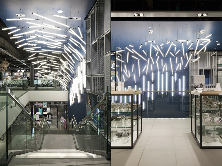 The installation hangs over the ground floor staircase and uses small modular elements in a dynamic composition to encourage a flow of movement up and down ... & Breaking Wave installation for John Lewis by Paul Nulty Lighting ... azcodes.com