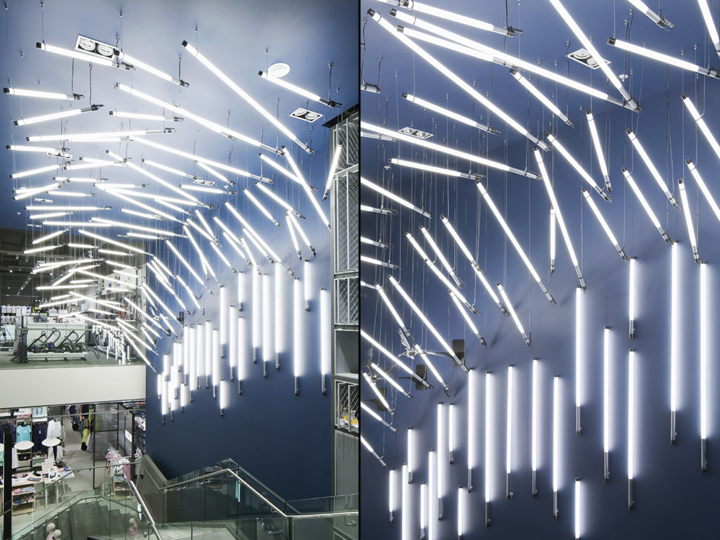 Breaking wave installation for john lewis by paul nulty lighting