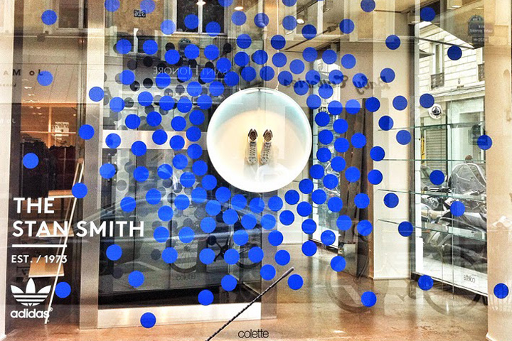 newest 60c9d a3227 Blue dots lifted from Colettes iconic two-dot logo surround a white  circular neon-lit tray heroing a pair of limited edition Stan Smith trainers,  and ...