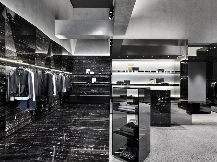 Black Marble Buildings : Les hommes flagship store by piuarch milan italy