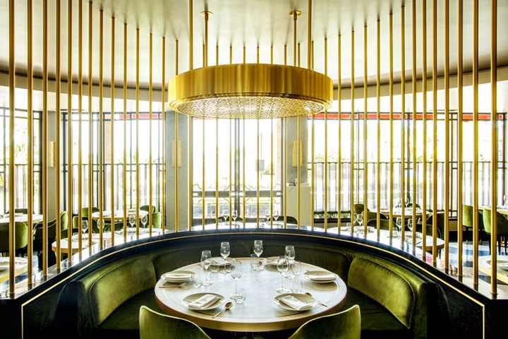 Interior of elegant restaurant in art deco style prague czech
